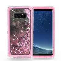 Wholesale Glitter Clips - Quicksand Rhinestone Case For iphone X 8 7 Plus Note8 S8 Glitter Transparent Liquid TPU Cover Clear Robot With Belt Clip A