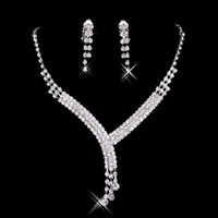 Wholesale Evening Fold - 2017 Shinning Rhinestone Blue Lady Necklace Earring Sets Bridal Accessories Jewelry for Wedding Party Evening Prom In Stock Cheap
