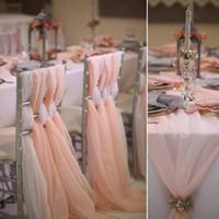 beyaz sandalye şapkaları toptan satış-Romantik Düğün Sandalye Sashes Flowy Şifon Chiavari Sandalye Sashes Custom Made Allık Beyaz Fildişi Düğün Parti Olay Süslemeleri 65 * 200 cm