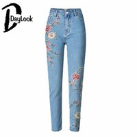 Wholesale Floral Print Skinny Jeans - Wholesale- DayLook Women Denim Jeans Light Wash Floral Embroidery Print Skinny High Waist Pencil Pants 34-44 Sizes Front Zipper Buttons