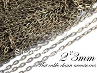 Wholesale Bulk Nickel Wholesale - bulk 2mm jewelry link metal oval flat cable chain 100m antique bronze chain findings nickel free and lead free