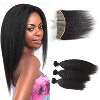 Wholesale Brazilian Stright - Full Frontal Lace Closure With 3 Bundles Malaysian Virgin Hair Kinky Stright Lace Frontal Bundles G-EASY