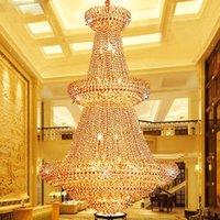 salon lambaları toptan satış-Amerikan Altın Kristal Avizeler Lamba Modern Altın Kristal Avizeler Işıklar Fikstürü Avrupa Otel Hall Lounge Bar Ev Kapalı Aydınlatma