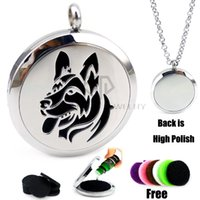 Lockets USA,CA,MX,AU,UK,GE Unisex Round Silver Dog Desgin(30mm) Essential Oils Stainless Steel Necklace Perfume Diffuser Locket Aromatherapy Locket Necklace