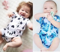 Wholesale Wholesale Printed Jumpsuits Rompers - 2017 Ins baby clothing rompers Outfits Short sleeve Oblique zipper Jumpsuits Leaf Prints Toddler Infants clothing Summer