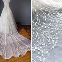 Wholesale Wave Punch - White wave tassel glitter fabric embroidery lace wedding dress gauze clothing decoration materials DIY accessories Lace fabric L008
