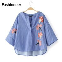 Wholesale Women Wear For Office Blouse - Fashioneer Women flower embroidery striped shirt long flare sleeve blue loose blouses female casual office wear tops blusas For Ladies
