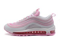 Wholesale Women Trainning Shoes - Womens Athletic Lightweight Maxes 97 QS Pink Running Shoes Brand Ladies Fashion Red Purple Run Trainning Sneaker 36-40