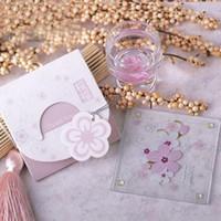 Wholesale Wedding Favors Glass Coasters - Love Theme Cherry Blossom Sakura Flower Glass Coaster Wedding Bridal Shower Party Favors Souvenir Return Gift ZA3809