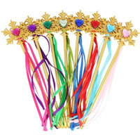 Wholesale Gold Ribbon Party Favors - Fairy Gold snowflake ribbons wand streamers XMAS wedding party Cos Princess gem sticks magic wands confetti kids birthday favors