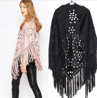 Wholesale Ladies Cape Style Coats - Womens cloaks scarf European american style lady hollow suede poncho coat Tassel lace capes Shawl for womens cardigan outwear R0620