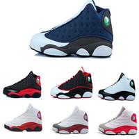 basketbol ayakkabıları ebadı 41 toptan satış-2018 ücretsiz kargo Ucuz 13 OG Siyah Kedi Basketbol Ayakkabıları Erkekler Için ucuz Spor Eğitim Sneakers toptan boyutu 41-47