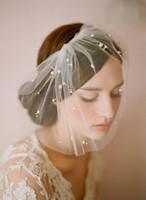 Wholesale Elegant Birdcage Hats Veil - Elegant Tulle Feather Imitation Pearls Bridal Hats Face Veil Fascinators Headpiece Party Hat Birdcage Veil Wedding Accessories