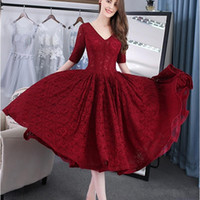 Wholesale best tea lights for sale - Group buy 2019 Best Sale Cheap Half Sleeve V Neck New Arrival Burgundy Ball Gown Prom Dresses Lace Tea Length Evening Gowns Vestido de Festa