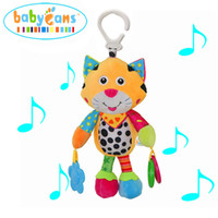 Wholesale musical baby doll - Wholesale- Musical Rattles Bell Baby Kids Toys Infant Mobile Crib Stroller 0-12 Months Soft Doll Developmental Plush Cartoon Animal