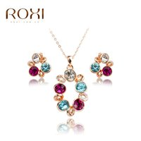 Wholesale Crystal Floral Necklace Set - ROXI TOP Quality Trendy Wholesale Girl Kawaii Jewelry sets Polymer Clay Mixed Floral Jewelry sets Necklace Earrings