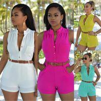 Wholesale Overall Shorts Sale - Hot sale women V neck elegant jumpsuits Pure color beach casual jumpsuits sleeveless Short Playsuits Overalls jumpsuits XXL attached belt