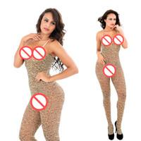 abra o gancho leopardo venda por atacado-Venda Senhora Incrível Exótico Bodysuit Sexy Lotação Do Corpo Do Leopardo Cinta de Espaguete Aberta Virilha Bodystocking Fantasia Seduzir Lingerie