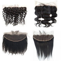 Wholesale Deep Waves Afro Hair - Body Wave Deep Wave Straight Afro Kinky Curly Lace Frontal Closure with Baby Hair Natural Color Brazilian Human Hair 13x4 FDSHINE