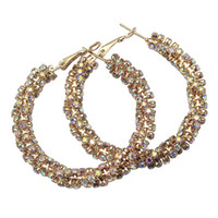Wholesale Large Rhinestone Flower Clips - 2017 Gold Color Flower Hoop Earrings for Woman Rhinestone Crystal Large Twisted Circle Earrings Fashion Jewelry Clip-on & Screw Back