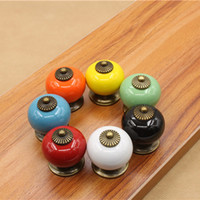 Wholesale vintage ceramic knobs resale online - Vintage Furniture Handle Ceramic Knobs and Handles Door Handle Cupboard Drawer Kitchen Pull Handles Furniture Hardware Color