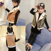 Wholesale Warm Wool Vest - 2017 new Winter woolen Girls Waistcoat Children Warm Vests Baby Girl Coat Kids Outwear Woolly Vest Kids Clothes Winter Coats Fashion A1386