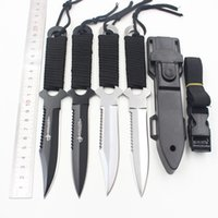 Wholesale Dive Hunting Knife - Outdoor Rope Wrapped Straight Knife Field Survival Diving Leggings Multi-purpose Knife with Nylon Knife Sets with Gifts Collection
