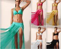 Wholesale hot lycra swimwear resale online - Hot sale new Women swimwear Beach Dress Bikini Cover Up Sexy Wrap Women Summer Bathing Swimwear Sarong Skirt Color Fashion