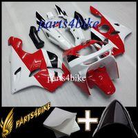 zımpara zx6r 95 kırmızı toptan satış-Satış Sonrası Plastik ABS Fairing Kawasaki ZX6R 94 97 ZX-6R 1994-1997 94 95 96 97 kırmızı beyaz Body Kit motosiklet panelleri