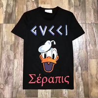 Wholesale Girls Print Tshirt - G2017 NEW New Fashion Donald Duck T-shirts Men WOMEN Cartoon Anime T Shirt O Neck Short Sleeve Tops Cotton T-shirt Boy Girl Funny Tshirt