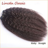 "Wholesale Classic Human Hair - [Lincoln Classic] Brazilian Kinky Straight Virgin Hair Bundles 1 Bundle 8-28"" Double Machine Weft Unprocessed Human Hair Extensions weaving"