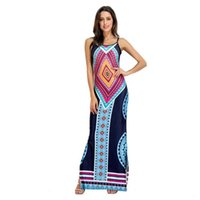 Wholesale Dreess Woman - Africa Sexy Printed Open Leg Spaghetti Strap Women Long Dreess Summer Bazin Riche African Ladies Maxi dresses