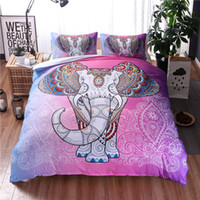 Wholesale Duvet Cover Elephant - Exotic Pink Elephant Bedding Set Boho Elephant Duvet Cover Set With Pillow Shams Bohemian Bedclothes Twin Queen King 3PCS Beddings