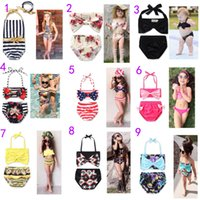 Wholesale Girls Plaid Swimsuits - 2017 Newest 13 Styles Baby Girls Swimwear Summer Kids Bikini Swimsuit bow printing Children Bathing Suit Kids Girls Swimming Suit