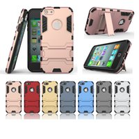 Wholesale Iphone5 Shockproof - Armor Rugged Heavy Duty Hybrid 2 IN 1 TPU + PC Shockproof Case for iPhone5 5s SE 6 6S Plus 7 Plus