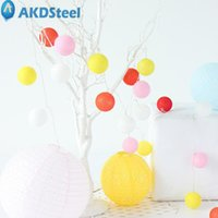Wholesale pretty lamps - Wholesale- AKDSteel Pretty LED Cotton Ball String Lights Colourful Lamp Decoration for Household Christmas Spring Festival Party Wedding