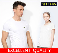 Wholesale Short Sleeved Tops Women - Hot Sale 2017 Fashion Summer T Shirt Women Short Sleeved Men Top quality Crocodile EmbroideryCasual Tees Tops Brand T-Shirts Men Clothing