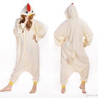 Wholesale Chicken Costume White - White Chicken Animal Costume Kigurumi Pajamas Cosplay Halloween Suits Adult Romper Cartoon Jumpsuits Unisex Animal Sleepwear