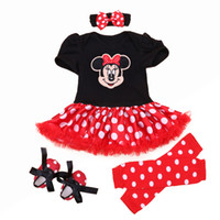 Wholesale Sets Minnie Mouse - Wholesale- Christmas 2016 Newborn Minnie Dress 4pcs set Baby Girls Clothes Toddler Girl Clothing Set Infant Minnie Mouse Costume Xmas Gifts