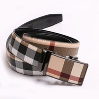 Wholesale automatic buckles leather belt - 2018 NEW Men High Quality Luxury Mens Belts Automatic Buckle Genuine Leather Belt For Men Striped Designer Belts