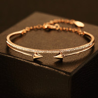 Wholesale European Cuff Bracelet - 2style Personality Punk Bangles Fashion 18K Gold Plated Zircon Bangle & Bracelet European Cuff Bangle Party Jewelry