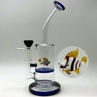 Wholesale Ceramic Fish - Glass bongs glass water pipes mini blue honeycomb perc smoking bong with bowl ceramic nail with animal fish inside rigs oil dab hookahs