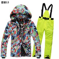 Wholesale Snow Ski Board - Wholesale- Waterproof Men Ski Suit Thicken Snow Board Jackets Chaqueta Esqui Hombre Ski Clothing Male Snowboard Pants Warm Snow Trousers
