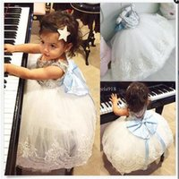 Wholesale Nets Dress New Style - New baby Sequins big Bow dress sleeveless Net yarn kids TuTu princess dresses fashion children girls Party dress C1931