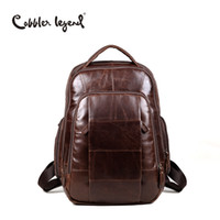Wholesale Men S Leather Backpacks - Wholesale- Cobbler Legend Brand 2016 RetroStyle Charming Head Layer Cow Leather Teenage Boys's Men 's Laptop Bag Backpacks For Men #7101805