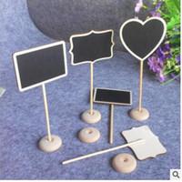 tahta tablo toptan satış-Mesaj Ahşap Kurulu için Düzensiz Mini Blackboard Kara Tahta Tutucu standı ile Parti Düğün Masa Dekorasyon Ücretsiz Kargo