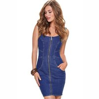 Wholesale Zip Brief - 2016 New Vintage Sumwer Women Zip Front SleevelessTank Vest Slim Casual Denim Jeans Party Mini Dress