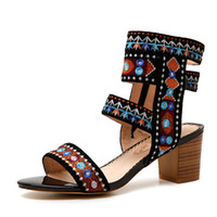 Wholesale National Borders - New National Retro Stylish Gladiator Sandals Women Embroidered Flower Bordered Chunky Heel Summer Beach Shoes Woman