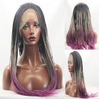 Wholesale Wholesale Half Wigs - Hot selling synthetic braid hair women long wigs braiding crochet hair with headband half wig