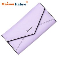 Vente en gros- Femmes Elegante Pu en cuir 3Fold Long Coin Purse Girls Embrayé Portefeuille Femelle Fonction Purse Ladies Envelope Bag New Fashion 2017